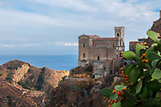 A view of the church S. Nicolò of the village of Savoca, Sicily, Italy. The town was the location for the scenes set in Corleone of Francis Ford Coppola's The Godfather. Bar Vitelli in Savoca, which is still a functioning establishment, was featured in the motion picture as the place where Michael Corleone asked Apollonia's father to meet his daughter.