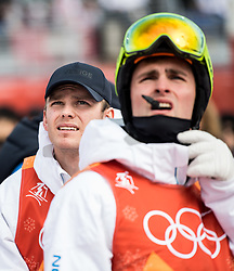 February 9, 2018 - Pyeongchang, South Korea - 180209 Ludvig FjÅllstrÅ¡m and Felix Elofsson of Sweden in the finishing area after competing in the MenÃ•s Moguls Qualification during the 2018 Winter Olympics on February 9, 2018 in Pyeongchang..Photo: Petter Arvidson / BILDBYRN / kod PA / 91956 (Credit Image: © Petter Arvidson/Bildbyran via ZUMA Press)