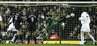 Photo. Aidan Ellis, Digitalsport<br /> Leeds United v Leicester City.<br /> FA Barclaycard Premiership.<br /> 05/04/2004.<br />  Leicester's Keeper Ian walker cant stop Leeds Michael duberry scoring with a header
