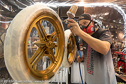 Danny Schramm of Schrammwerk Airbrush and Custom Painting was set up in a paint booth in the Intermot Customized Hall 10 during the Intermot International Motorcycle Fair. Cologne, Germany. Thursday October 4, 2018. Photography ©2018 Michael Lichter.