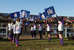 Flag bearers from Clifton Rugby club wait for players to emerge on to the pitch - Mandatory by-line: Paul Knight/JMP - 04/12/2016 - RUGBY - Cleve RFC - Bristol, England - Bristol Ladies v Worcester Valkyries - RFU Women's Premiership