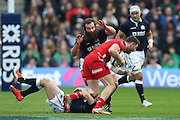 15.02.2015. Edinburgh. RBS 6 Nations 2015 Scotland v Wales.  Geoff Cross for Scotland about to pounce on Alex Cuthbert for Wales. from Murrayfield Stadium, Edinburgh.