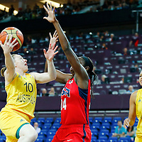 09 August 2012: Australia Kristi Harrower goes for the layup against USA Tina Charles during 86-73 Team USA victory over Team Australia, during the women's basketball semi-finals, at the 02 Arena, in London, Great Britain.