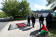 """UK based Pro-Palestinian activists group """"Palestine Action"""" seized control of the Leicester based factory of Elbit subsidiary UAV Tactical Systems on Wednesday, May 19, 2021. Activists say that """"the occupation is aiming to be as disruptive as possible; these activists are determined to prevent Elbit from resuming its business of bloodshed."""" (Photo by Vudi Xhymshiti)"""
