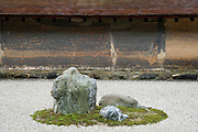a stone in the Ryoanji temple Zen garden Kyoto Japan