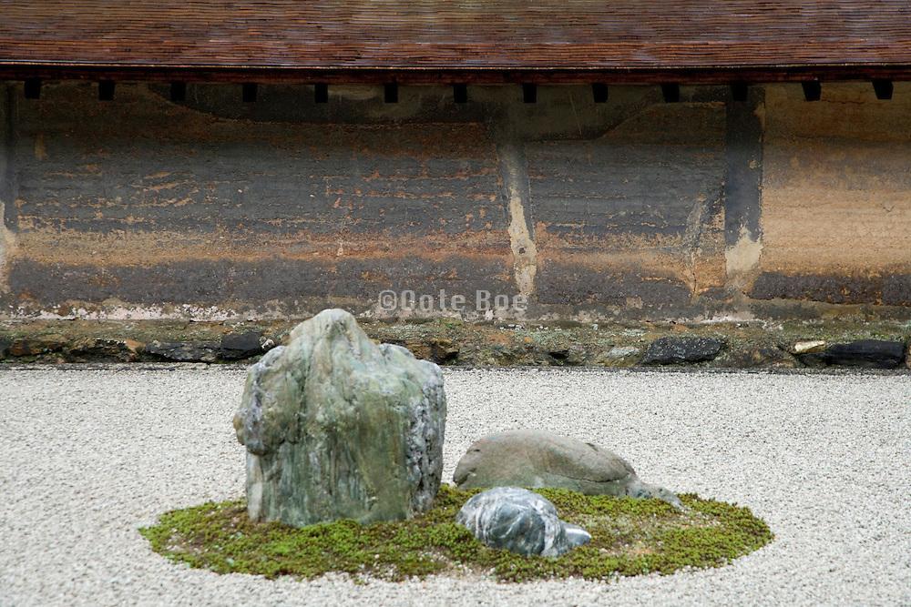 a stone in the Ryoanji temple Zen garden Kyoto Japan