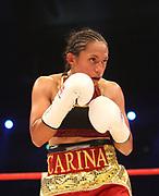 Boxen: WBA-World Championship, Flytweight, Dortmund, 06.07.2013<br /> Carina Moreno (USA)<br /> ©Torsten Helmke