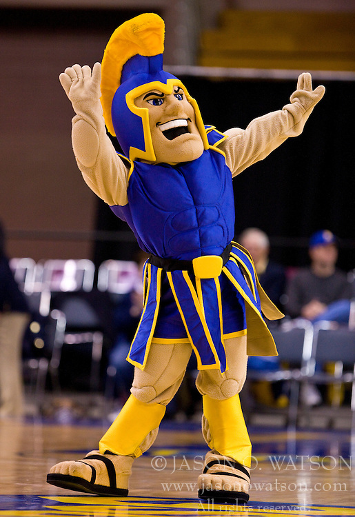 February 27, 2010; San Jose, CA, USA;  The San Jose State Spartans mascot performs during the second half against the Fresno State Bulldogs at The Event Center.  San Jose State defeated Fresno State 72-45.