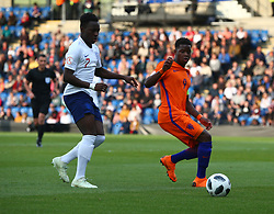 May 17, 2018 - United Kingdom - L-R Arvin Appiah of England Under 17  and Daishawn Redan of Netherlands Under 17 .during the UEFA Under-17 Championship Semi-Final match between England U17s against Netherlands U17s at Proact Stadium,  .Chesterfield FC, England on 17 May 2018. (Credit Image: © Kieran Galvin/NurPhoto via ZUMA Press)
