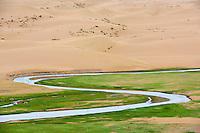 Mongolie, Province de Zavkhan, paysage desertique des dunes de sable dans la steppe mongole // Mongolia, Zavkhan province, deserted landscape of sand dunes in the steppe