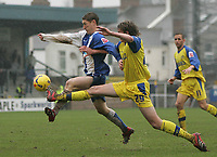Photo: Lee Earle.<br /> Torquay United v Hartlepool United. Coca Cola League 2. 17/02/2007.Torquay's Matthew Halliday (R) and Hartlepool's Eifion Williams go for the ball.