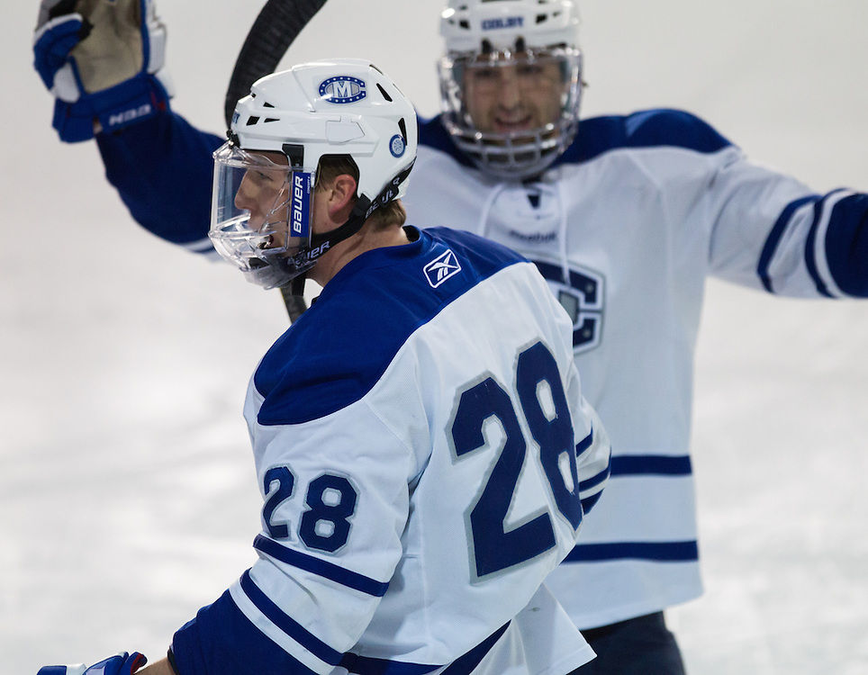 Scott Harff of Colby College celebrates his goal in an NCAA Division III college hockey game against Williams College at Alfond Rink at Alfond Arena, Saturday Nov. 17, 2012 in Waterville, ME. (Dustin Satloff/Colby College Athletics)