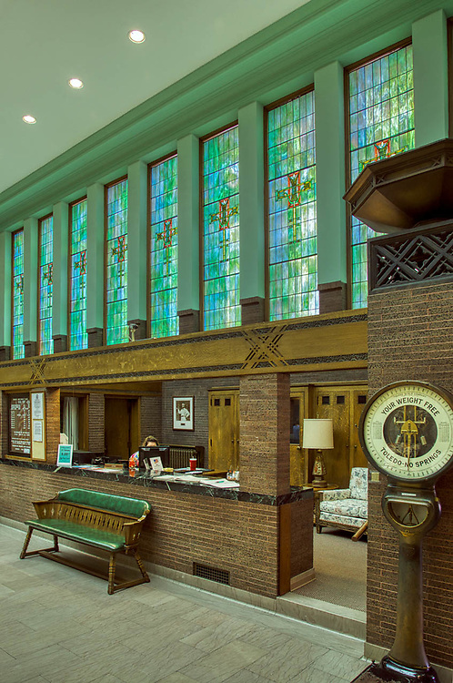 Bank building designed by Louis Sullivan in 1917, in SIdney, Ohio.  Interior and Exterior images. July 2019, summer, Digital photography.