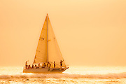 A sailboat cruises past the surf as it nears the Ala Wai harbor in Waikiki, Hawaii