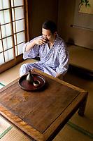 Japanese Man Drinking Sake