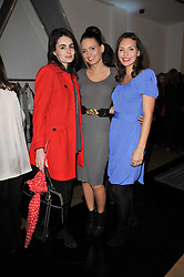 Left to right, LAUREN STEVENTON and sisters NATHALIE BOWEN and JESSICA BOWEN at a party to launch pop-up store Oxygen Boutique, 33 Duke of York Square, London SW3 on 8th February 2011.
