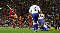 Photo: Paul Thomas.<br /> Liverpool v Middlesbrough. The Barclays Premiership. 18/04/2007.<br /> <br /> Steven Gerrard of Liverpool scores.