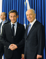 Israel's president Shimon Peres receives his French counterpart Nicolas Sarkozy, at his residence in Jerusalem on January 5, 2009, on the first day of his visit to the Middle East. Photo by Ammar Abd Rabbo/ABACAPRESS.COM