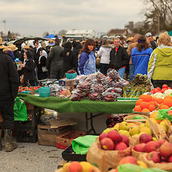 Fruit and vegetables being sold at the annual mud sale at the Bart Volunteer Fire Company in Lancaster County, Pennsylvania.