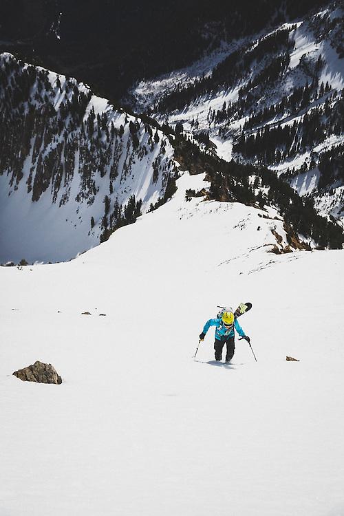 Caroline Gleich booting up the eastface of Box Elder Peak, Wasatch Mountains, Utah.