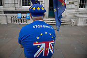 Anti Brexit protesters waving European Union flags outside the Cabinet Office in Westminster as it is announced that Boris Johnson has had his request to suspend Parliament approved by the Queen on 28th August 2019 in London, England, United Kingdom. The announcement of a suspension of Parliament for approximately five weeks ahead of Brexit has enraged Remain supporters who suggest this is a sinister plan to stop the debate concerning a potential No Deal.