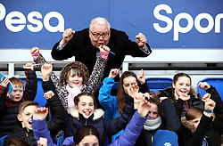 Everton chairman Bill Kenwright in the stands with fans prior to the match
