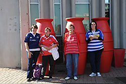 070418 Emirates Airlines Park, Ellis Park, Johannesburg, South Africa. Super Rugby. Lions vs Stormers. Friends and family Debra Panaino, Grace Panaino, Jenny van Vuuren and Tracey Panaino wait for the arrival of their teams.<br />Picture: Karen Sandison/African News Agency (ANA)