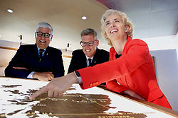 Pictured: <br /> <br /> Diageo CEO Ivan Menezes, David Cutter (chairman, Diageo in Scotland) and Cristina Diezhandino (global scotch whisky director) at launch of investment in visitor centres at Diageo in Edinburgh 16042018 pic by Terry Murden @edinburghelitemedia Terry Murden | EEm 16 April 2018