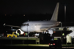 © Licensed to London News Pictures. 02/02/2020. Brize Norton, UK. A plane carrying a further 11 British nationals evacuated from Wuhan in China arrives at RAF Brize Norton in Oxfordshire. On Friday 83 Britons were flown from the centre of the coronavirus outbreak to RAF Brize Norton and then transported to quarantine for 14 days at Arrowe Park Hospital on the Wirral. Photo credit: Peter Macdiarmid/LNP