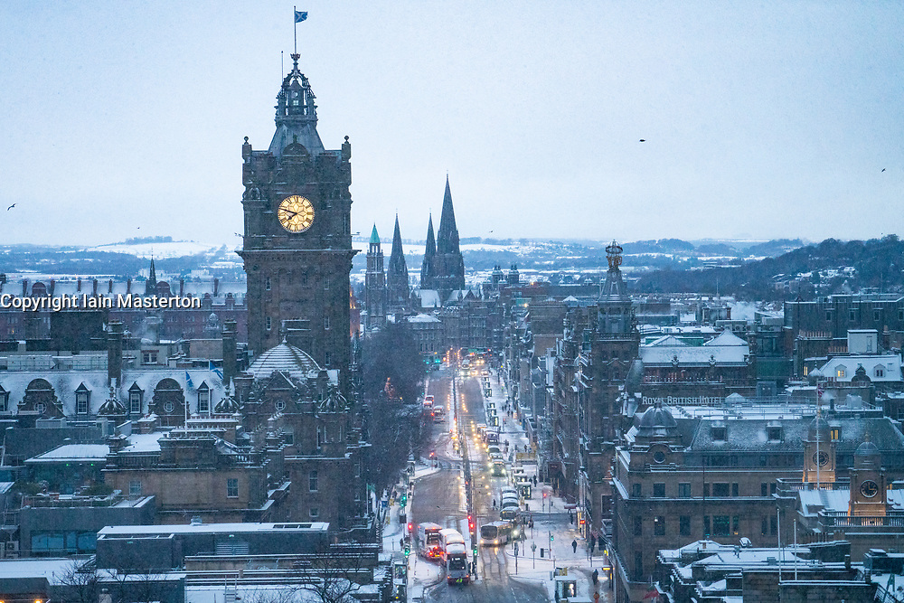 Edinburgh, Scotland, UK. 9 Feb 2021. Big freeze continues in the UK with Storm Darcy bringing several inches of snow to Edinburgh overnight. Pic; View along snow covered Princes Street. Iain Masterton/Alamy Live news