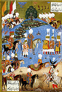 Suleiman I, (1494  – 1566) longest-reigning Sultan of the Ottoman Empire, from 1520 to his death in 1566.Suleiman the magnificent marching with army in Nakhichevan, summer 1554. Date 1561(1561)