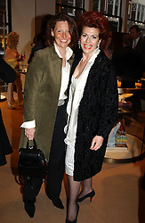 Left to right, MRS JAMES PALMER-TOMKINSON and CLEO ROCCOS at a party to celebrate the publication of 'Last Voyage of The Valentina' by Santa Montefiore at Asprey, 169 New Bond Street, London W1 on 12th April 2005.<br />