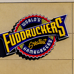 Mount Joy, PA / USA - February 23, 2020: A Fuddruckers Greatest Hamburgers Logo sign at their restaurant in Mount Joy, Pennsylvania.