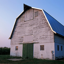 Queen Anne's County, MD. A barn next to a field of corn at Chino Farms. Eastern Shore.