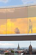 Anna, Mila & Frank Jensen. Your Rainbow Panorama, a Rainbow-coloured glass walkway on the roof of the Danish art museum ARoS Aarhus Kuntsmuseum, by Danish-Icelandic artist Olafur Eliasson. Opened 28 May, 2011