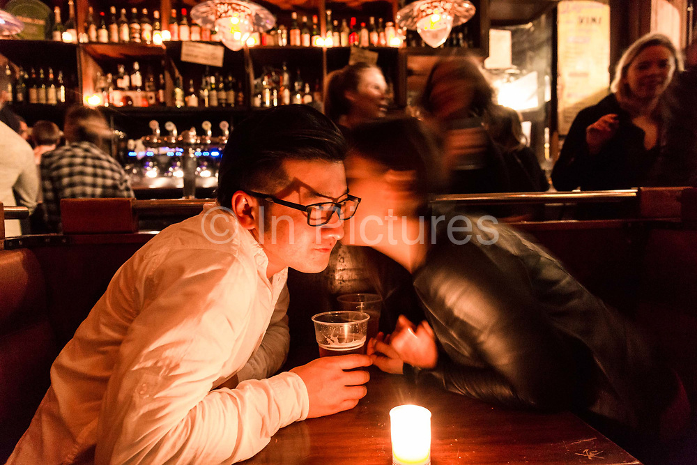 Masatsugu Okutani, 41  who works for Japanese food company Ajinomoto for whom he is the Marketing manager responsible for the Cos sales throughout Europe has a drink and dinner at Cafe Charbon with friend Sarah, Paris.