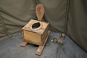 View of a wooden toilet in a tent at a campsite, Lake Manyara National Park, Tanzania