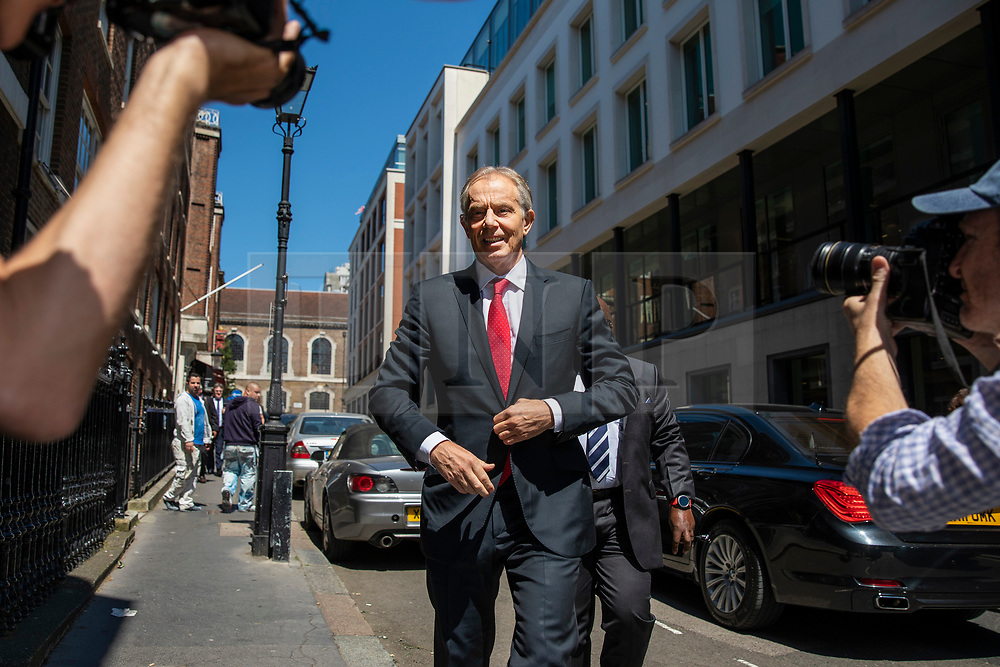 © Licensed to London News Pictures. 27/06/2018. London, UK. Former British Prime Minister Tony Blair arrives at Chatham House to deliver a speech on globalisation. Photo credit: Rob Pinney/LNP
