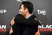 """Spanish actors Alex Gonzalez and Miguel Angel Silvestre  attend the """"Alacran Enamorado"""" Premiere in Madrid at the Callao Cinema"""