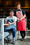 Chef Brian Surbaugh, left, and pastry chef Becca Schmutte, pose for a portrait at National Provisions on Thursday April 2, 2015.<br /> <br /> Photos by William DeShazer