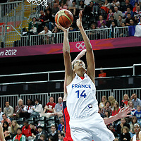 07 August 2012: France Emmeline Ndongue goes for the layup during 71-68 Team France victory over Team Czech Republic, during the women's basketball quarter-finals, at the Basketball Arena, in London, Great Britain.
