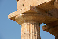 Close up of the ancient Doric Greek capitals & columns of the  Temple of Hera of Paestum built in about 460-450 BC. Paestum archaeological site, Italy. .<br /> <br /> If you prefer to buy from our ALAMY PHOTO LIBRARY  Collection visit : https://www.alamy.com/portfolio/paul-williams-funkystock/paestum-greek-temples.html<br /> Visit our CLASSICAL WORLD HISTORIC SITES PHOTO COLLECTIONS for more photos to buy as buy as wall art prints https://funkystock.photoshelter.com/gallery-collection/Classical-Era-Historic-Sites-Archaeological-Sites-Pictures-Images/C0000g4bSGiDL9rw
