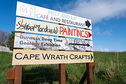 Signs at Balnakeil craft Village in Durness on the North Coast 500 tourist motoring route in northern Scotland, UK