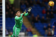 Cardiff city goalkeeper Neil Etheridge in action. EFL Skybet championship match, Cardiff city v Ipswich Town at the Cardiff city stadium in Cardiff, South Wales on Tuesday 31st October 2017.<br /> pic by Andrew Orchard, Andrew Orchard sports photography.