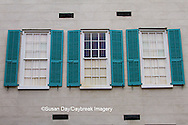 66512-00117 Teal shutters on old building, Charleston, SC