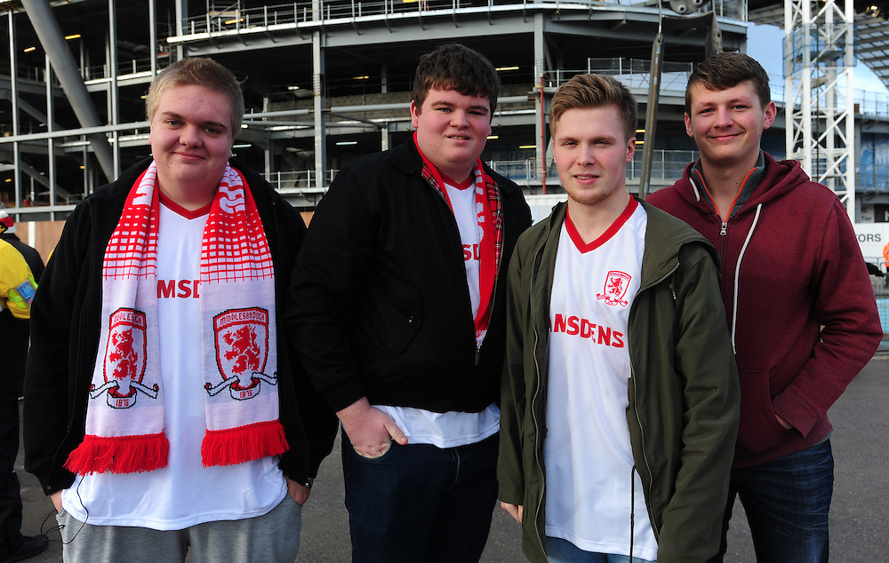 Middlesbrough fans ahead of their sides FA Cup game against Manchester City<br /> <br /> Photographer Chris Vaughan/CameraSport<br /> <br /> Football - The FA Cup Fourth Round - Manchester City v Middlesbrough - Saturday 24th January 2015 - Etihad Stadium - Manchester<br /> <br /> © CameraSport - 43 Linden Ave. Countesthorpe. Leicester. England. LE8 5PG - Tel: +44 (0) 116 277 4147 - admin@camerasport.com - www.camerasport.com