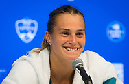 Aryna Sabalenka of Belarus talks to the media after the semi-final of the 2018 Western and Southern Open WTA Premier 5 tennis tournament, Cincinnati, Ohio, USA, on August 18th 2018, Photo Rob Prange / SpainProSportsImages / DPPI / ProSportsImages / DPPI