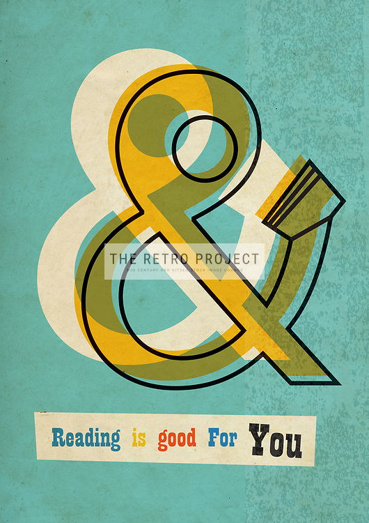 Retro Library Book Reading Poster Mid Century illustration ampersand reading is good for you in green, cream and gold aged textured background