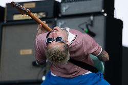 Laurie Vincent of Slaves performs on The Other Stage, at Glastonbury Festival at Worthy Farm in Somerset.