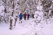 Friends age 40 cross country skiing on winter weekend getaway. Bessemer Michigan USA
